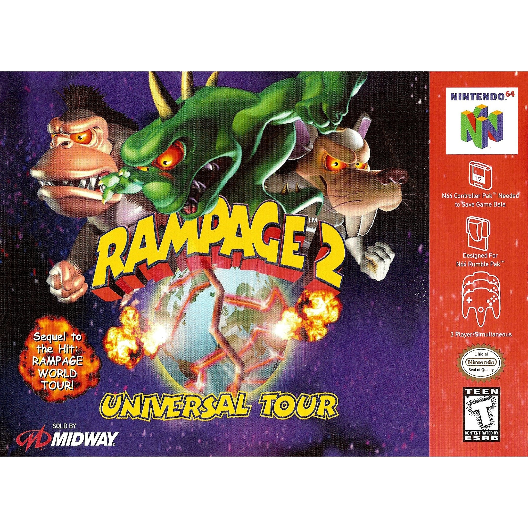 Rampage 2: Universal Tour - Authentic Nintendo 64 (N64) Game Cartridge - YourGamingShop.com - Buy, Sell, Trade Video Games Online. 120 Day Warranty. Satisfaction Guaranteed.