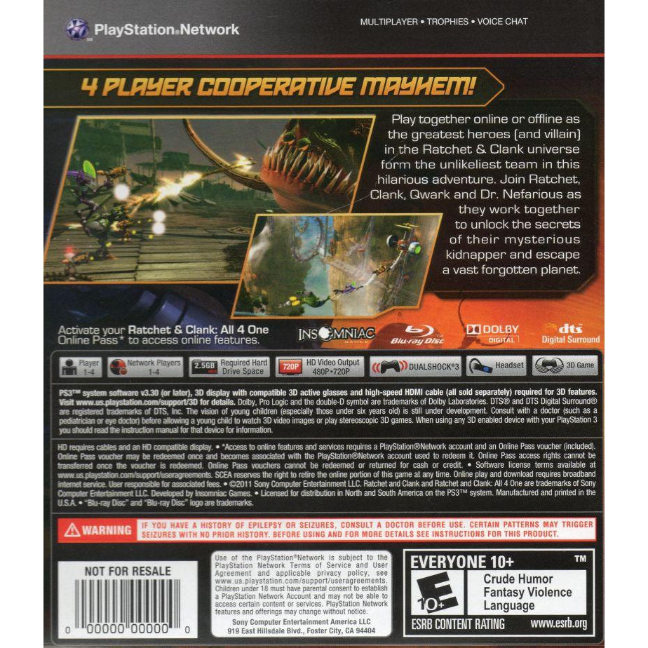 Ratchet and Clank: All 4 One - PlayStation 3 (PS3) Game - YourGamingShop.com - Buy, Sell, Trade Video Games Online. 120 Day Warranty. Satisfaction Guaranteed.