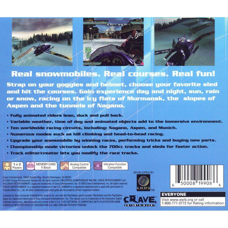 Sno-Cross Championship Racing - PlayStation 1 (PS1) Game Complete - YourGamingShop.com - Buy, Sell, Trade Video Games Online. 120 Day Warranty. Satisfaction Guaranteed.