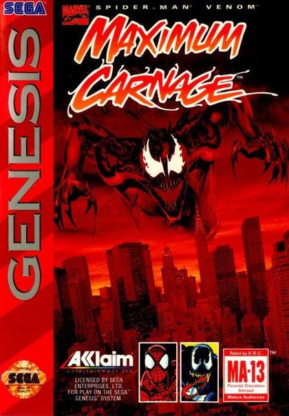 Spider-Man and Venom: Maximum Carnage (Red Cart) - Sega Genesis Game