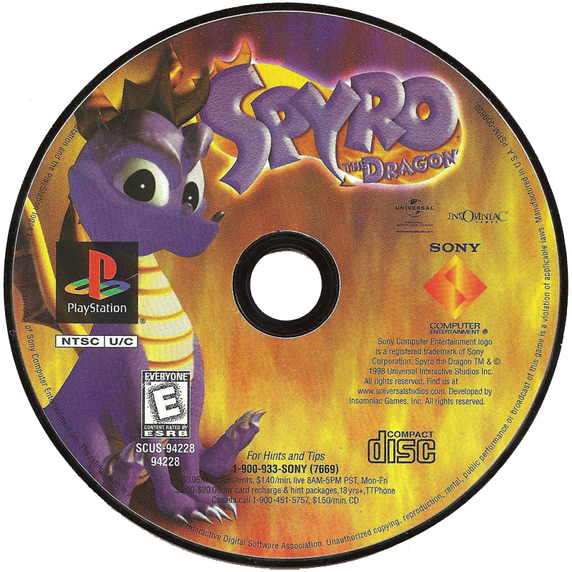 Spyro the Dragon - PlayStation 1 (PS1) Game