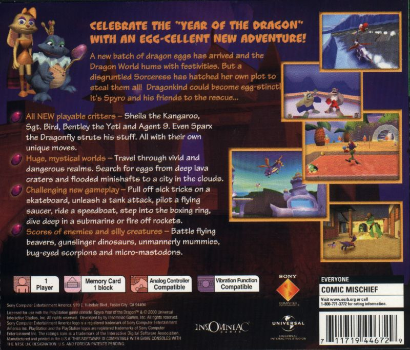 Spyro: Year of the Dragon - PlayStation 1 PS1 Game
