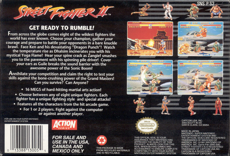 Street Fighter II - Super Nintendo (SNES) Game Cartridge