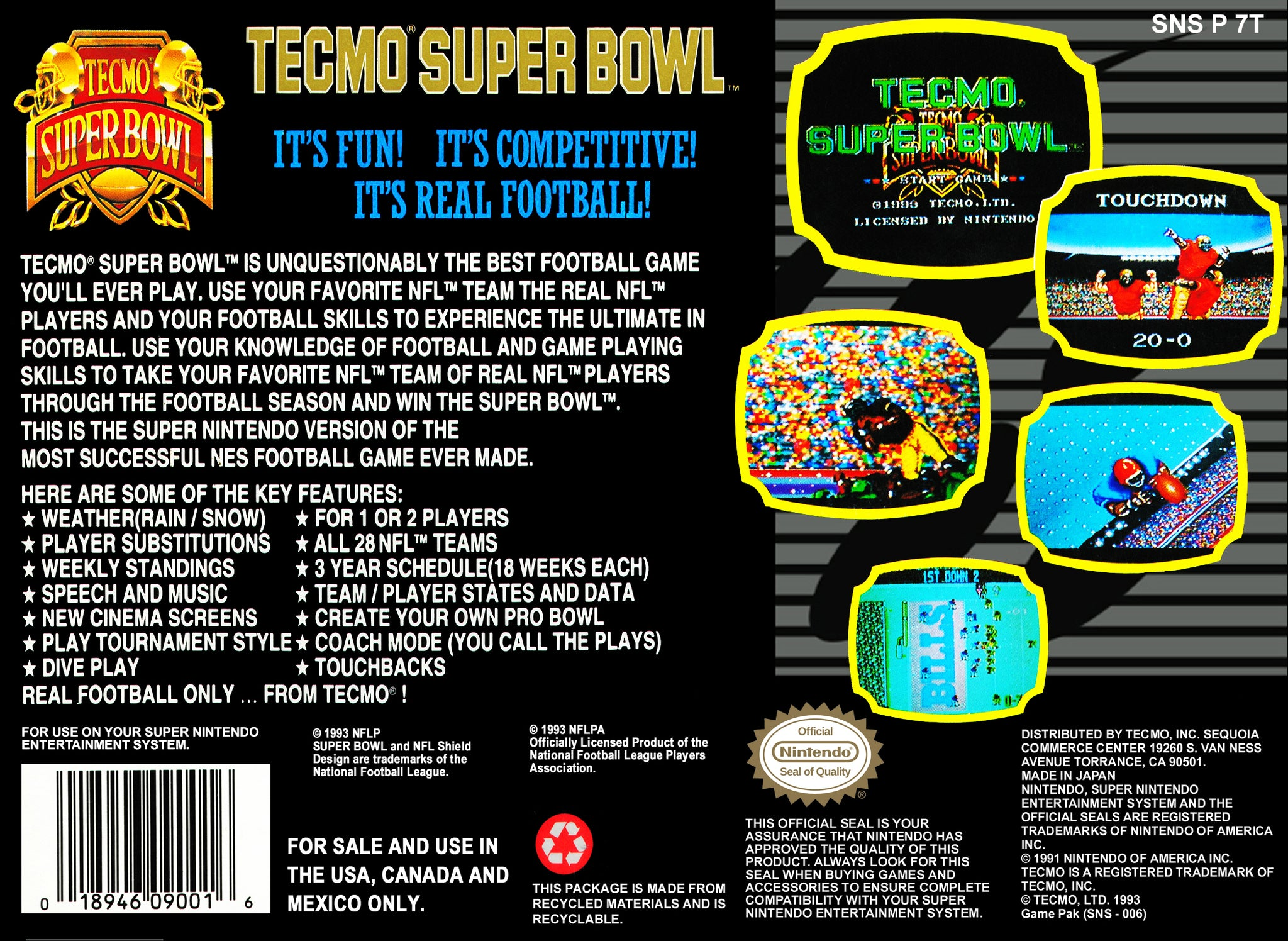 Tecmo Super Bowl - Super Nintendo (SNES) Game Cartridge