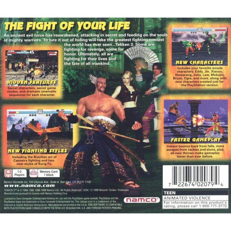 Tekken 3 - PlayStation 1 PS1 Game Complete - YourGamingShop.com - Buy, Sell, Trade Video Games Online. 120 Day Warranty. Satisfaction Guaranteed.
