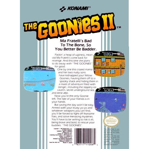 The Goonies II - Authentic NES Game Cartridge - YourGamingShop.com - Buy, Sell, Trade Video Games Online. 120 Day Warranty. Satisfaction Guaranteed.