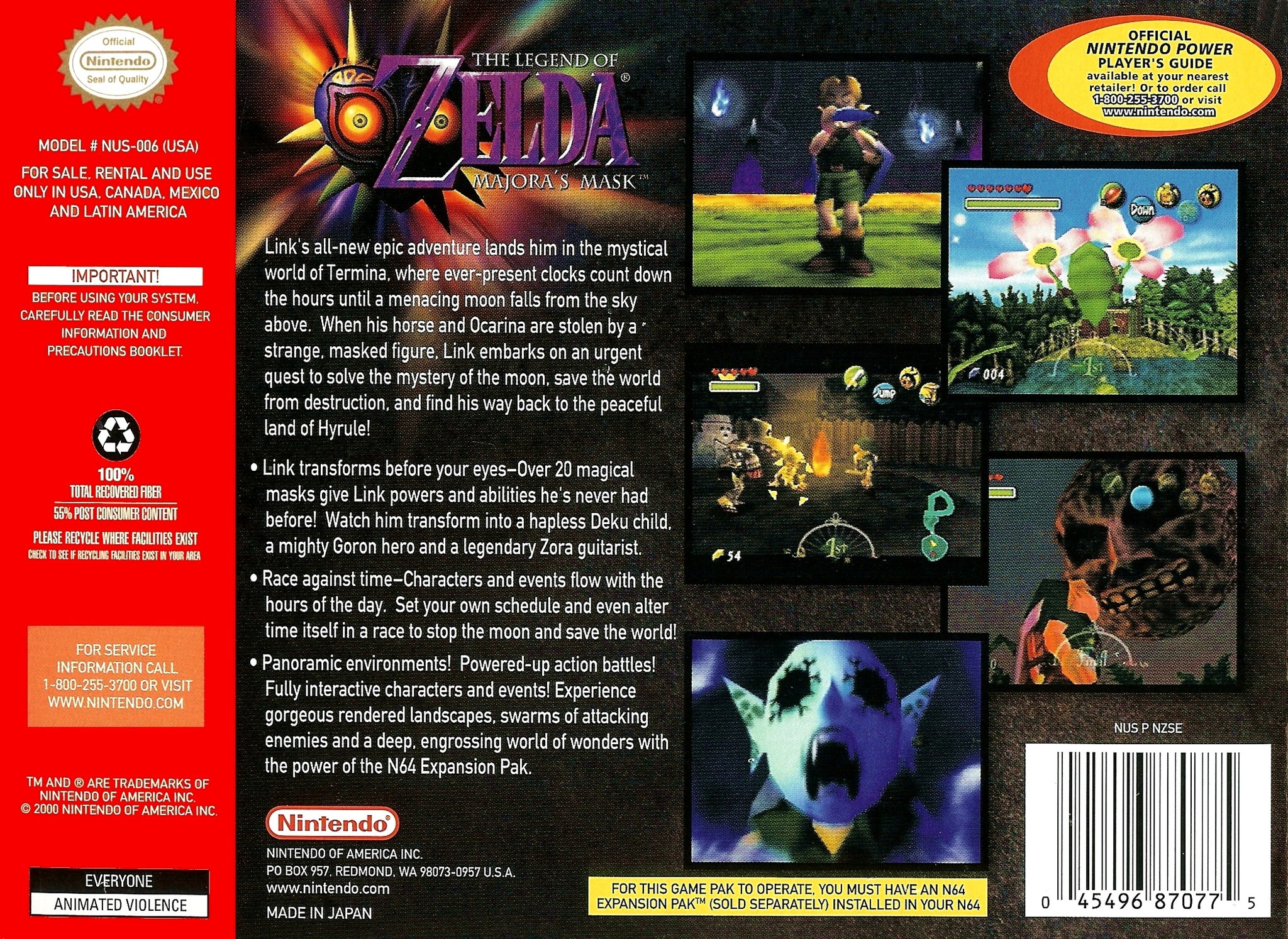 The Legend of Zelda: Majora's Mask (Holographic) - Authentic Nintendo 64 (N64) Game Cartridge
