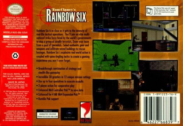 Tom Clancy's Rainbow Six (Black) - Authentic Nintendo 64 (N64) Game Cartridge