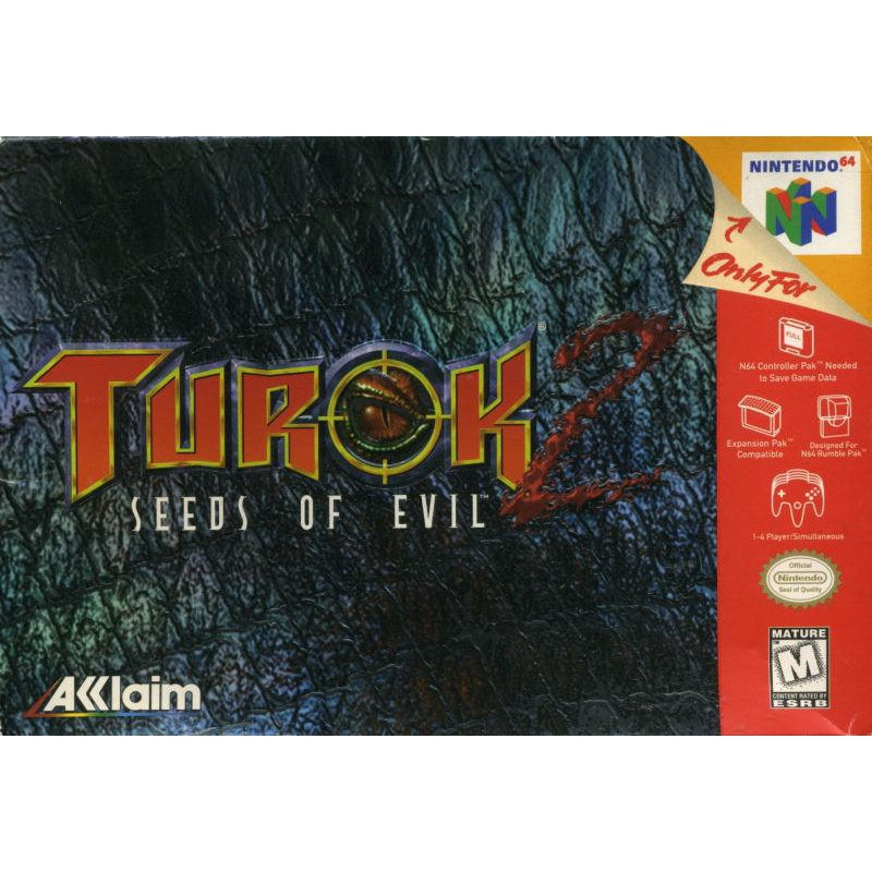 Turok 2 Seeds of Evil - Authentic Nintendo 64 (N64) Game Cartridge - YourGamingShop.com - Buy, Sell, Trade Video Games Online. 120 Day Warranty. Satisfaction Guaranteed.