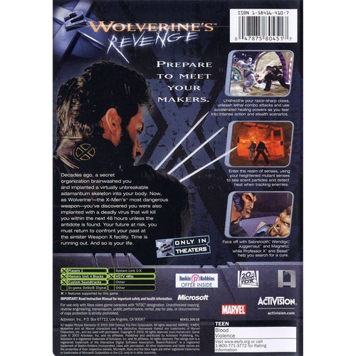 X2: Wolverine's Revenge - Microsoft Xbox Game Complete - YourGamingShop.com - Buy, Sell, Trade Video Games Online. 120 Day Warranty. Satisfaction Guaranteed.