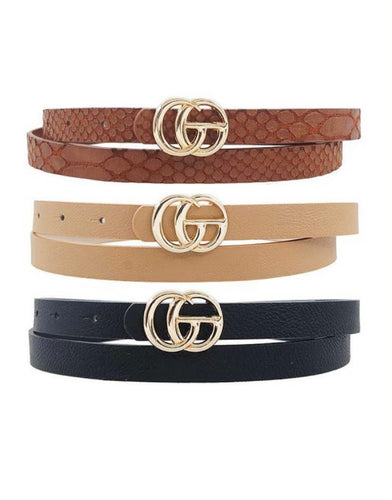 Brown Textured Snake GG Inspired Belt- Thin