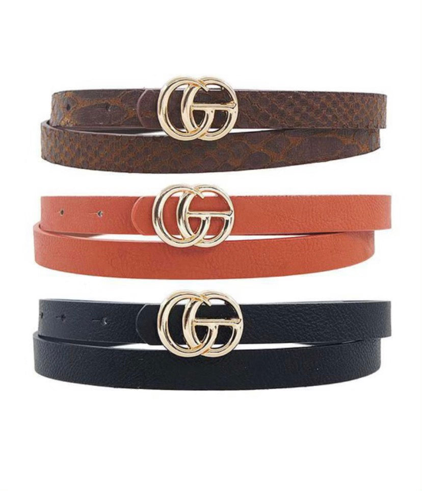 Cognac GG Inspired Belt- Thin