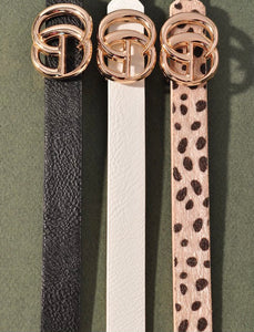 White Textured GG Inspired Belt- Thin