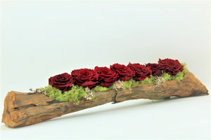 Preserved Roses in Elongated Wood Log - RE