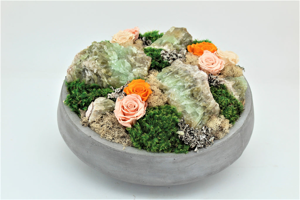 Preserved Roses and Green Calcite in Concrete Bowl