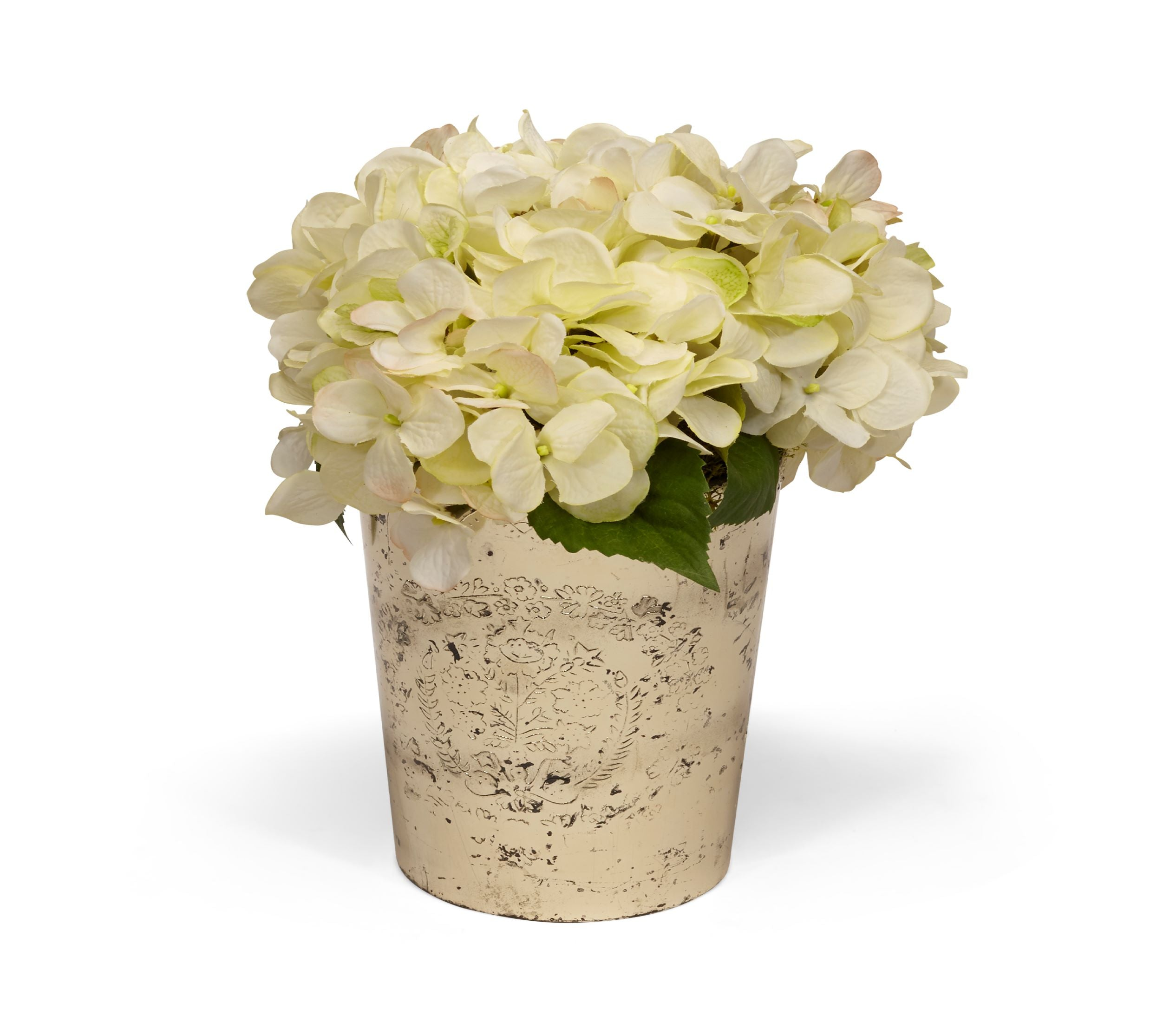 Hydrangea in Vintage Mercury Glass WHITE