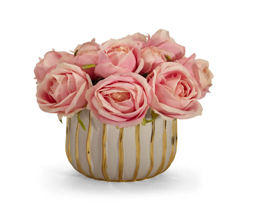 Rose Bouquet in White and Gold Container - PINK