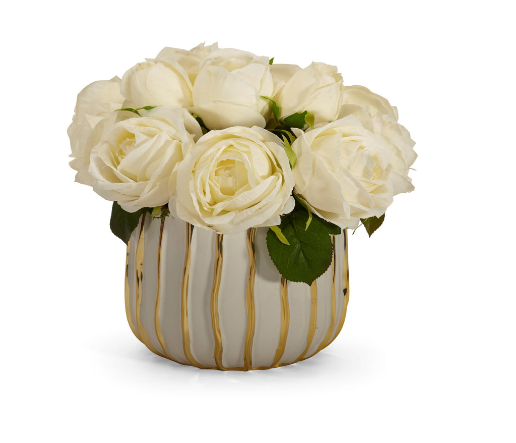 Rose Bouquet in White and Gold Container - WHITE