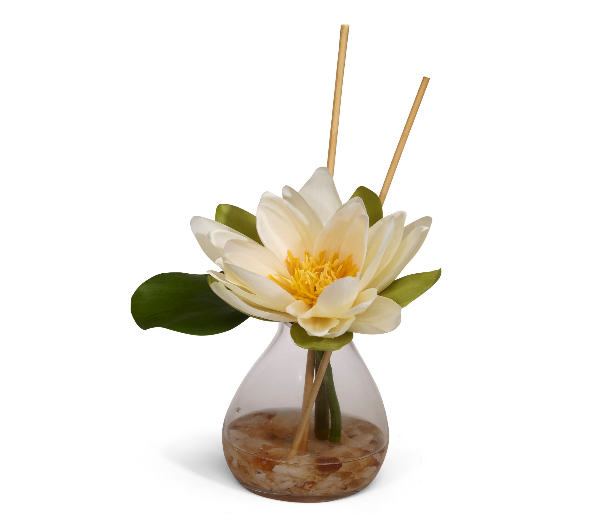 Lotus in Carafe Vase With Crushed Citrine