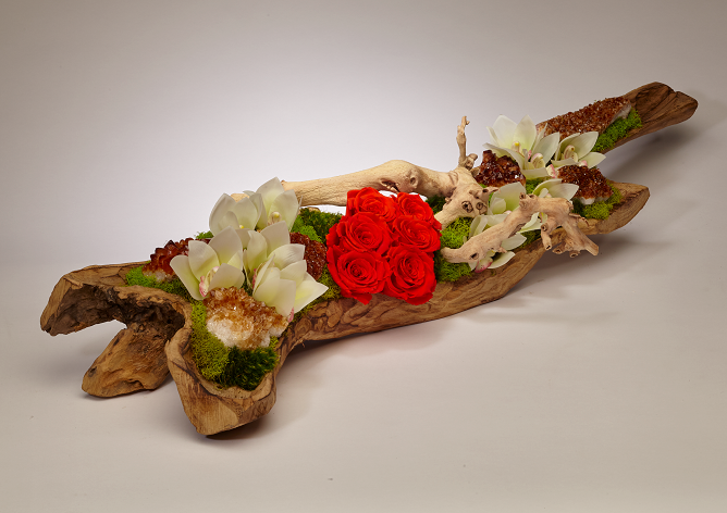 Preserved Roses and Citrine in Elongated Wood Log - Orange/White