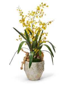 Yellow dancing Orchids