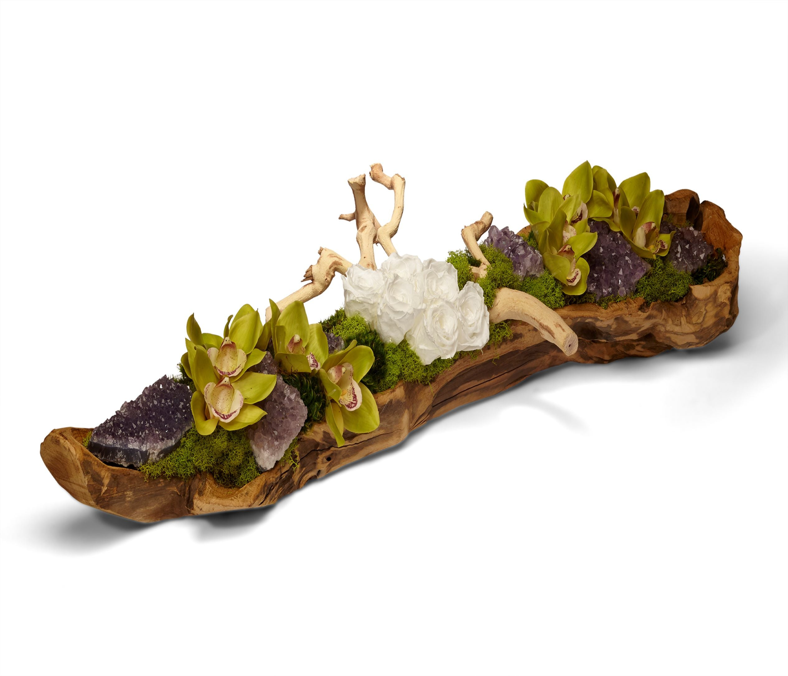 Preserved Roses and Amethyst in Elongated Wood Log - White/Green