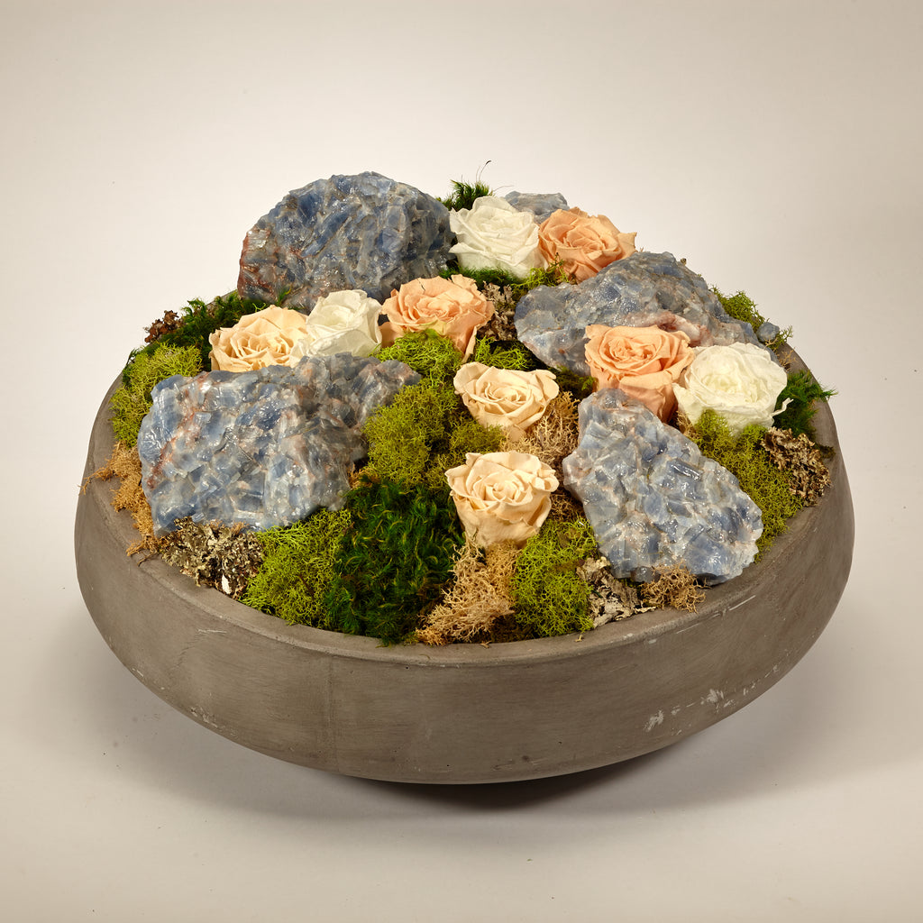 Preserved Roses in Large Concrete Bowl - Blue Calcite