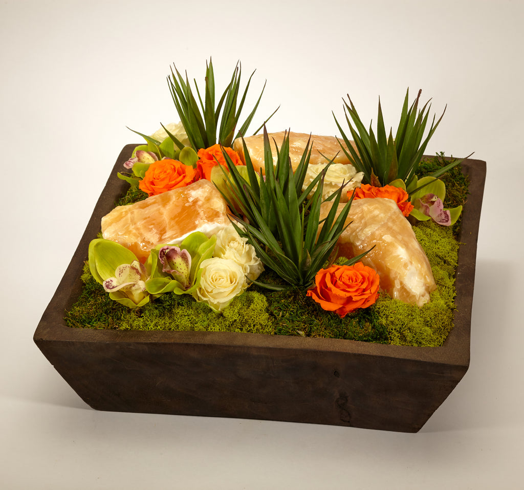 Preserved Roses and Succulents in Hand Carved Wood Box - Yelow Calcite