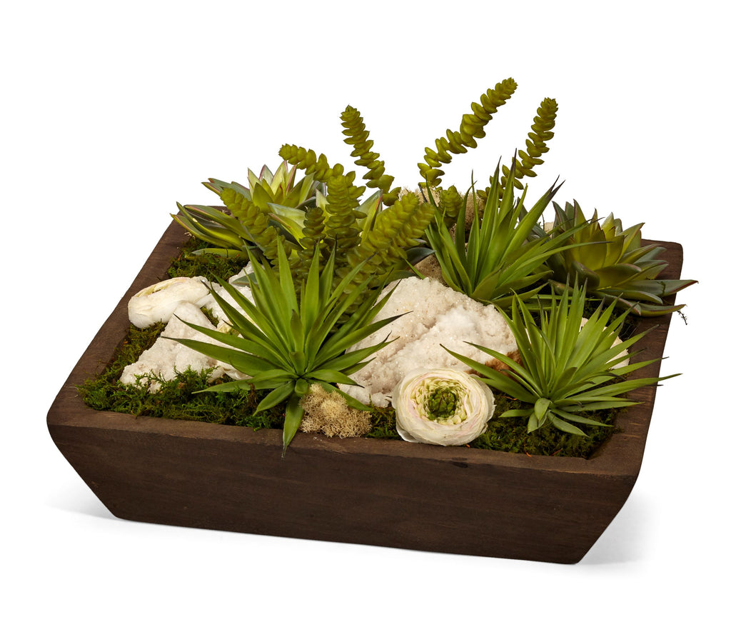 Succulents and Quartz in Wood Square