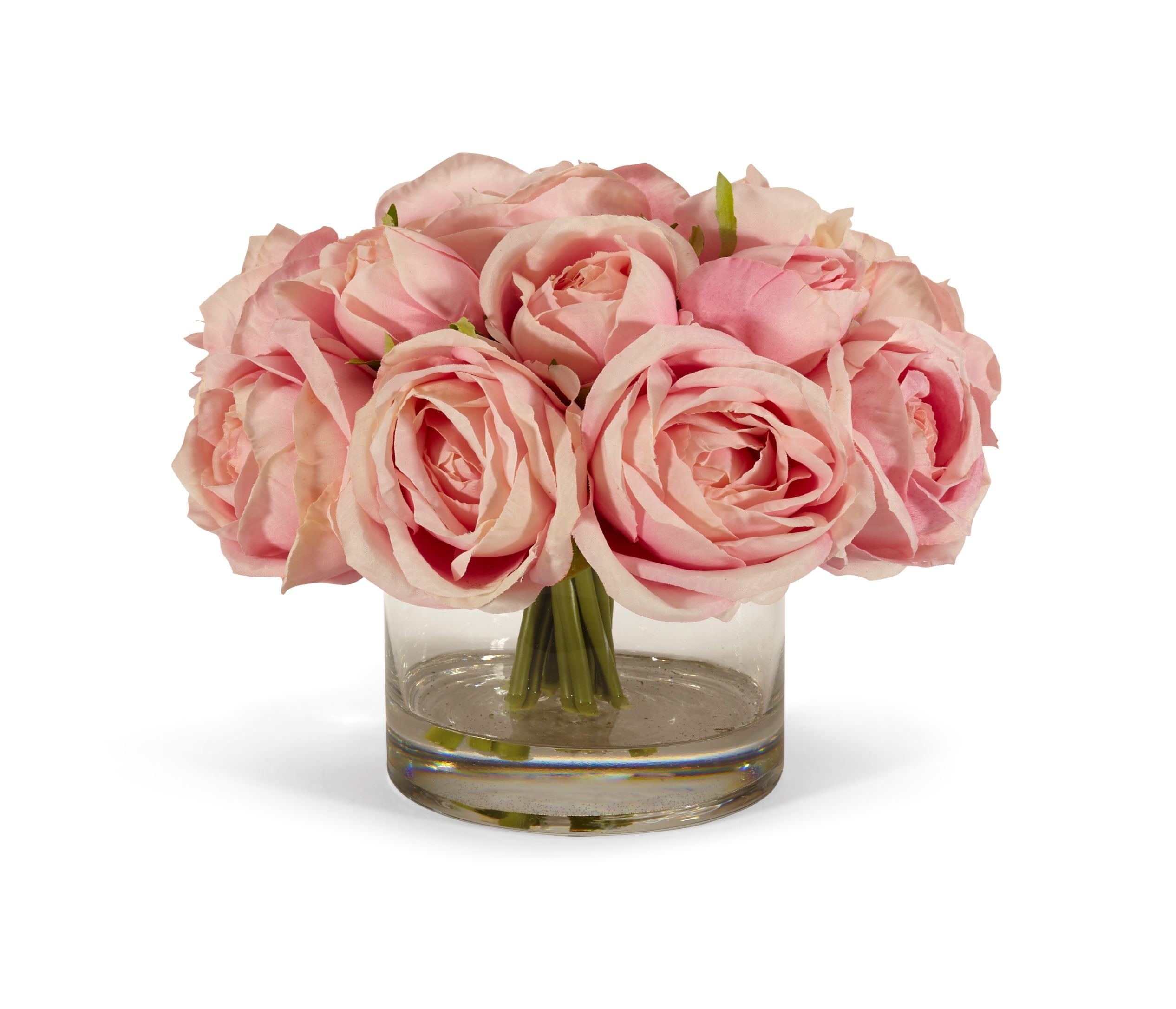 Rose Bouquet in Clear Glass Vase - PINK