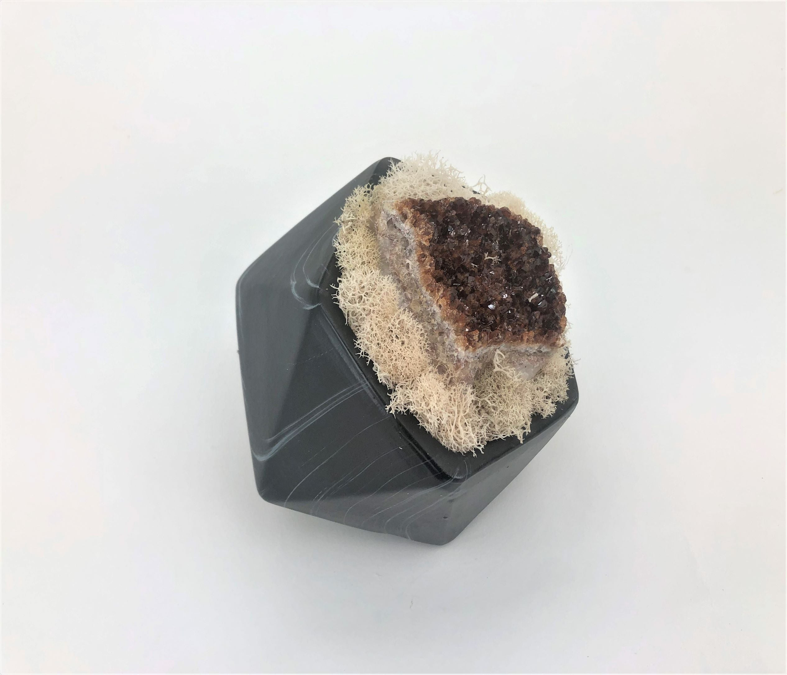 Black Marble Like Pentagon  Citrine