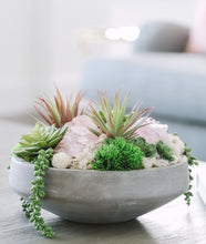 Load image into Gallery viewer, Succulents & Geodes in Concrete Bowl