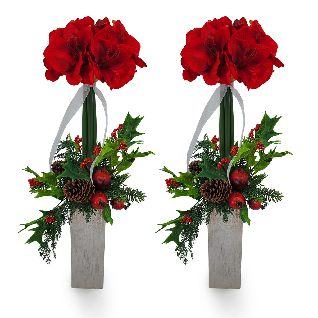 Red Amaryllis Mantel Set