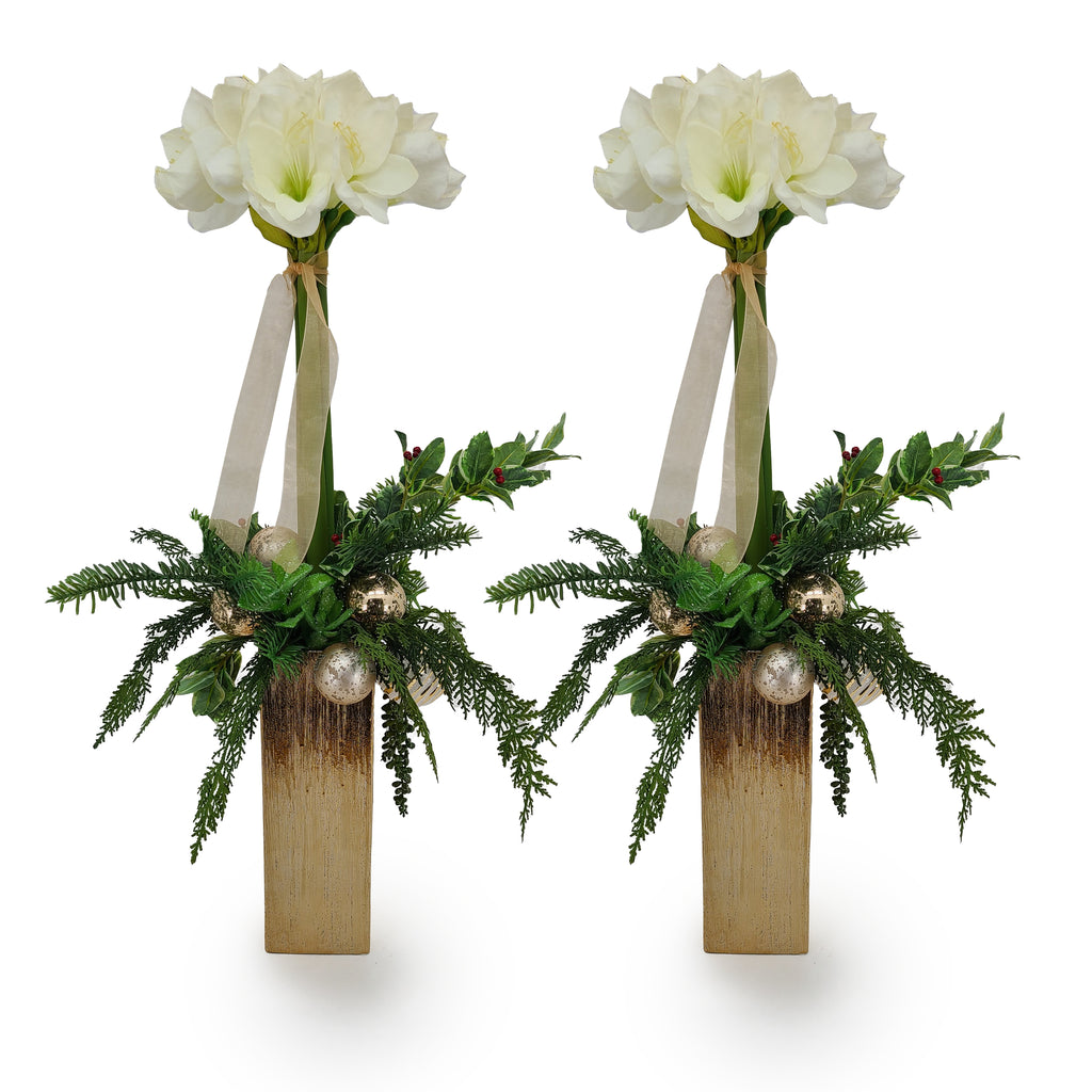 White Amaryllis Mantel Set