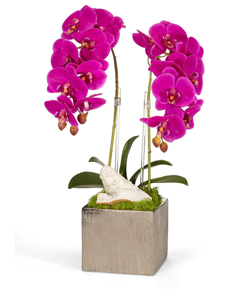 Double Orchid in Silver Square