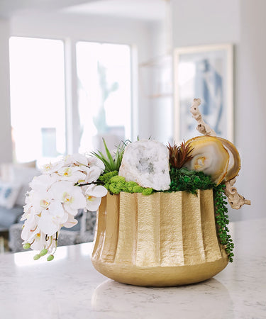 Draped Orchids in Embellished Container