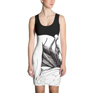 """ Black White & Red "" Shibari pen and ink on Sublimation Cut & Sew Dress"