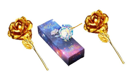 2 Gold Rose + 1 Galaxy Rose