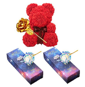 2 Galaxy Rose + 1 Gold Rose + 1 Rose Bear Red 8in