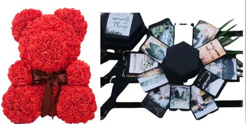Memory Box + 8in Red Rose Bear