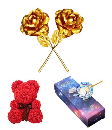 2 Gold Rose + 1 Galaxy Rose + 1 Rose Bear Red 8in