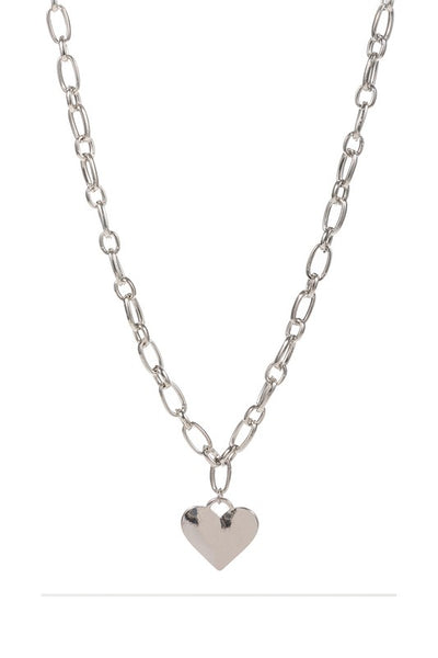 Chunky Link Chain Heart Pendant Necklace