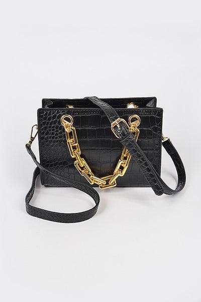 Luxe Life Faux Croc Chain Handle Bag