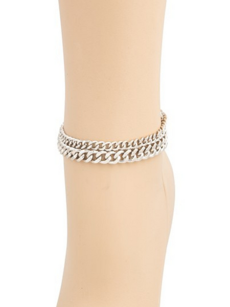 Cash Out Double Curb Chain Anklet Set - Silver