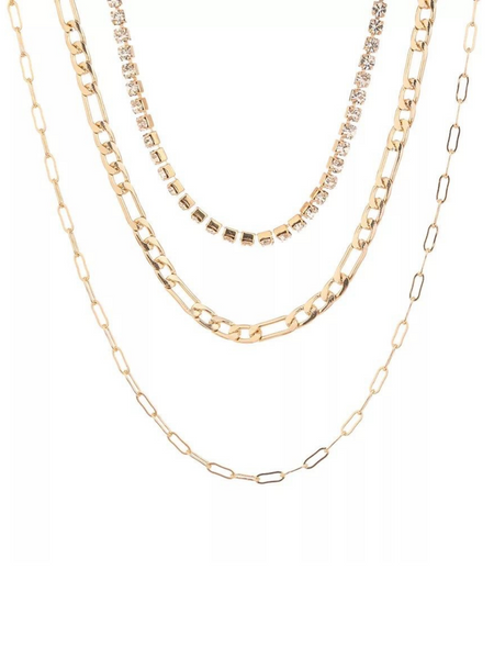 Chain Reaction Rhinestone Multilayer Necklace - Gold