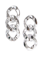 Going For It Chain Earrings - Silver