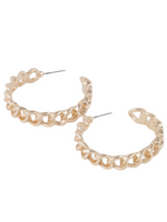 Worth The Hype Chain Hoop Earrings - Gold