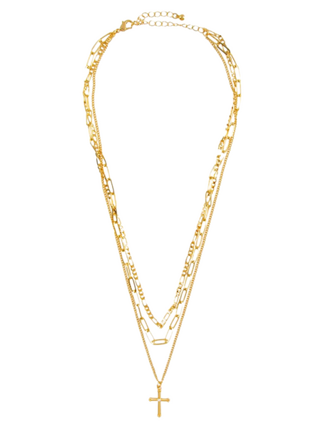 Bless Up Multilayer Necklace & Stud Earring Set - Gold