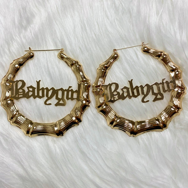 "3.5"" Babygirl Bamboo Hoop Earrings - Gold"