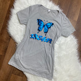 Dream Holographic Graffiti Butterfly T-Shirt - Grey